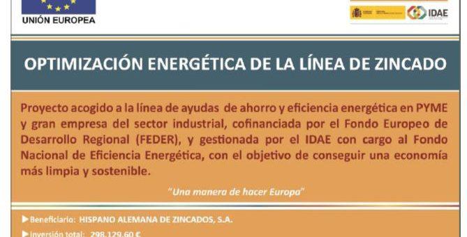 Proyecto de ahorro y eficiencia energética de la línea de zincado
